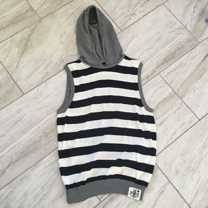 Express Men's Striped Sleeveless Hoodie Size M